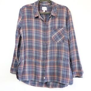 Melrose and Market | Fitted Full Button Flannel